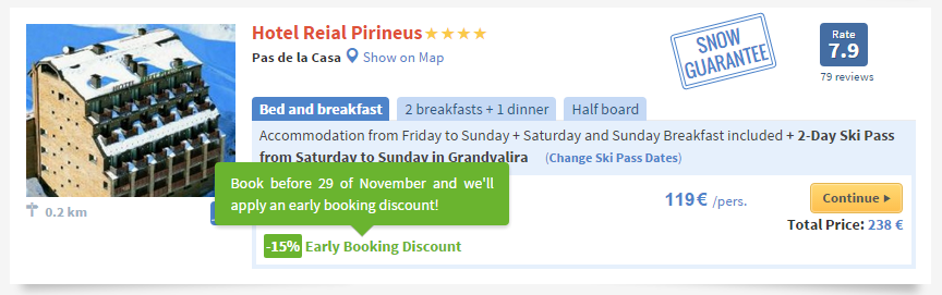 example early booking ski