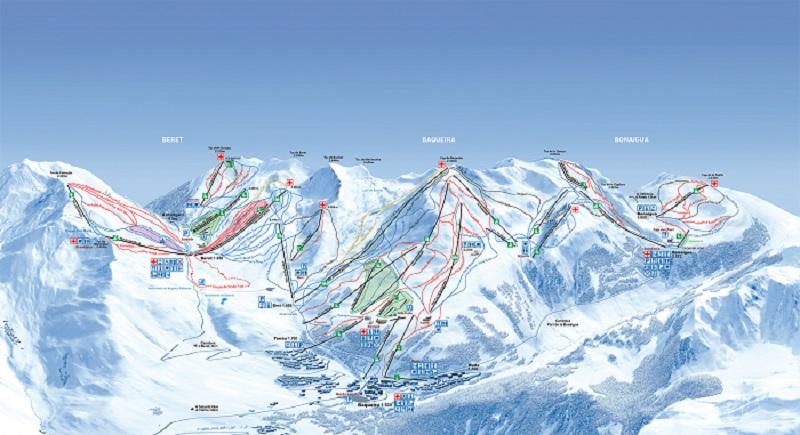Mapa de Pistas en Baqueira Beret