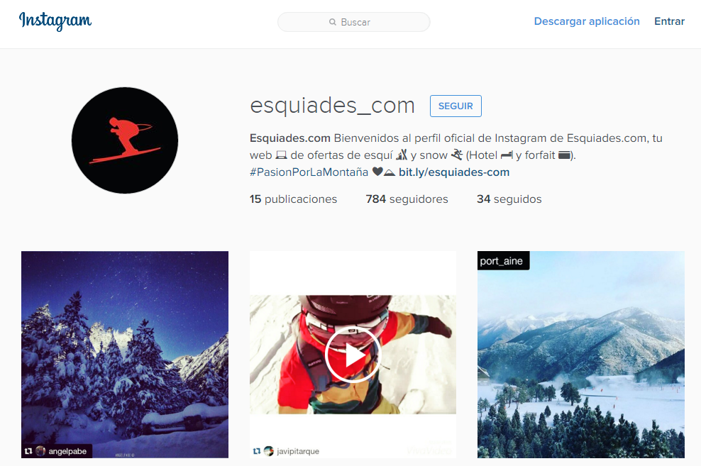 Perfil de instagram de Esquiades.com