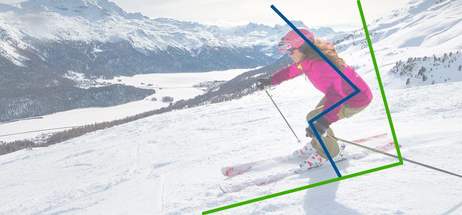 posición para esquiar con nieve primavera