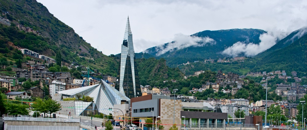 ESCALDES, ANDORRA - JULY 28: Balneary of Caldea on July 28, 2014 in Escaldes, Andorra. Caldea is Europe's largest health spa designed by the architect Jean-Michel Ruols in 1994.
